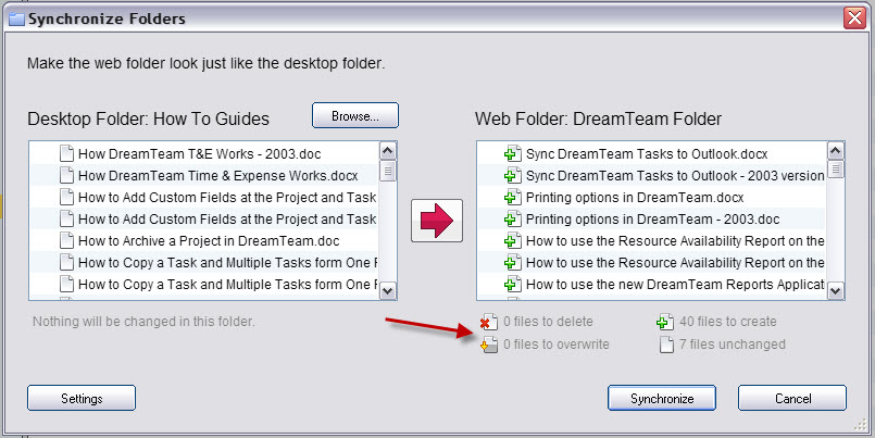 Clicking The Arrow So That It Faces To Left Means You Want Synchronize Web Folder Desktop